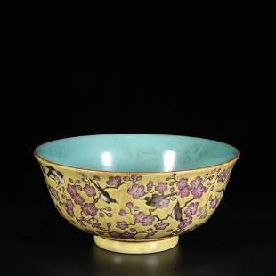 chinese yellow glazed porcelain bowl