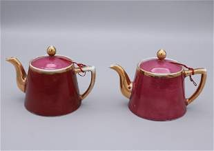 pair of chinese red glazed porcelain pots