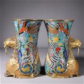 A pair of cloisonne phoenix bird vases