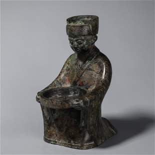 A bronze figure lamp stand