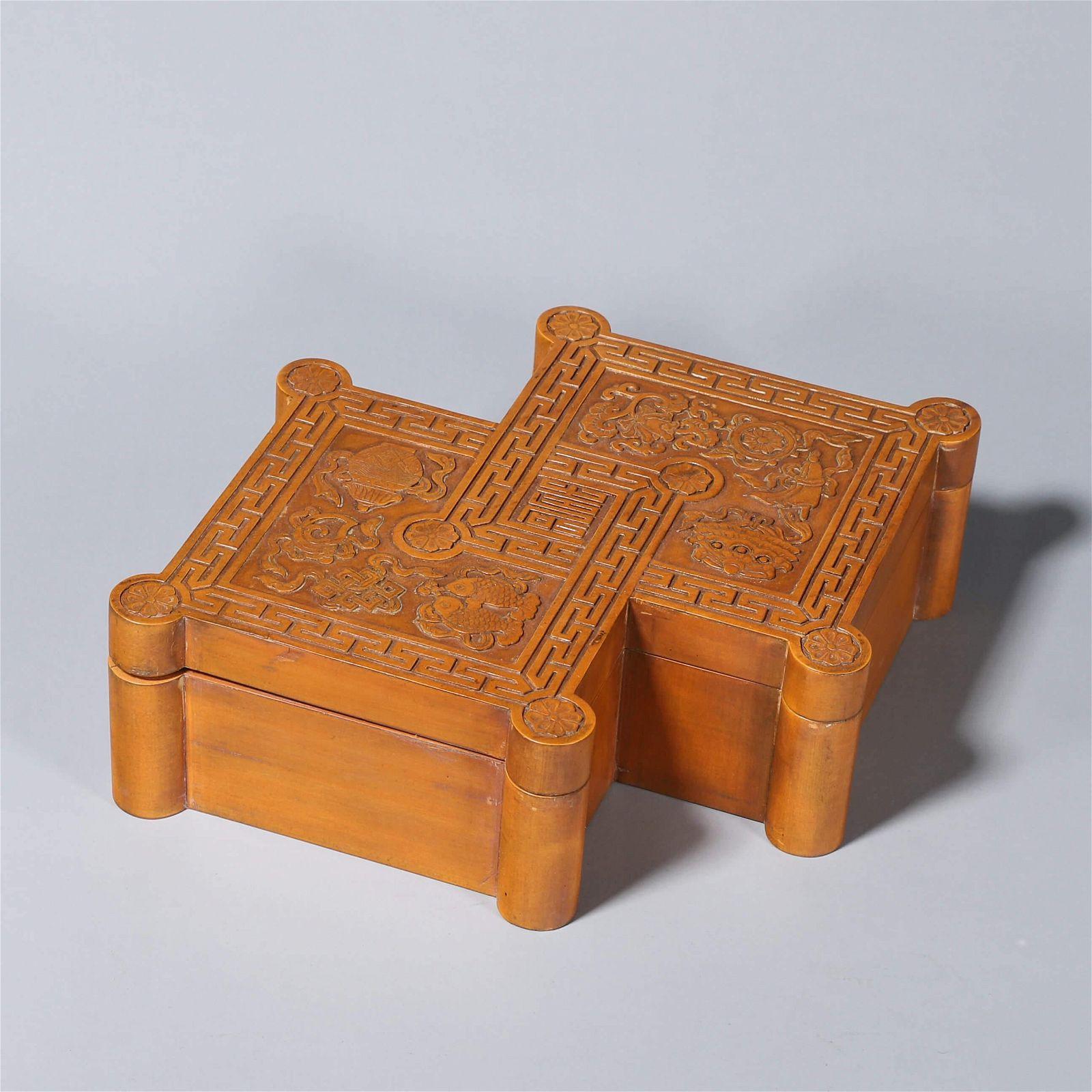 The eight-treasure pattern bamboo box