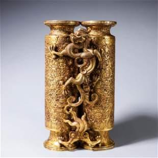 A gilding copper dragon and phoenix vase