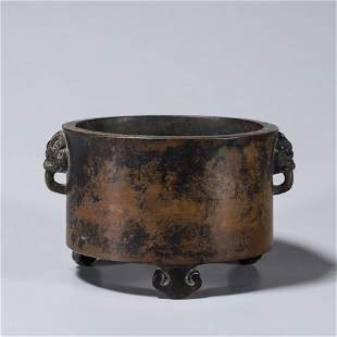 A round copper censer with lion head shaped ears