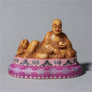 A Tianhuang stone carved arhat ornament