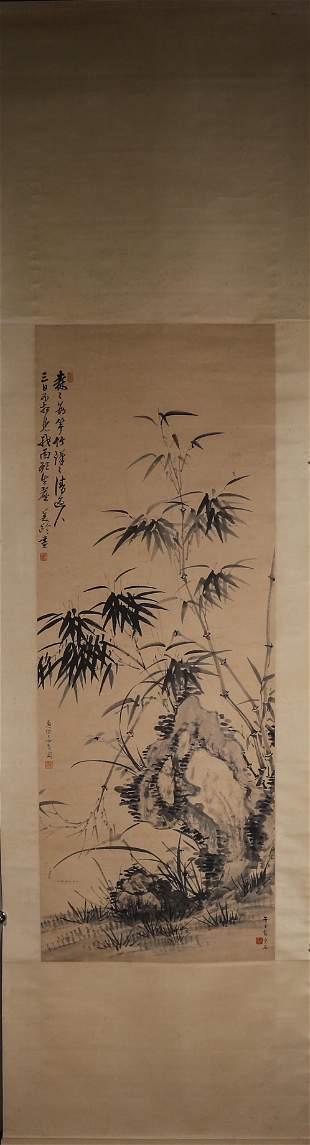 A Chinese bamboo painting, Zhang Daqian& Song Meiling