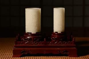 White jade carved brush pot