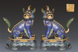 pair of chinese bronze cloisonne beasts