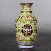 chinese famille rose porcelain revolve vase