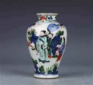 A Wu cai 'figure' jar
