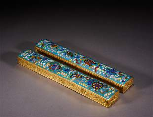 A pair of Cloisonne enamel paper weight
