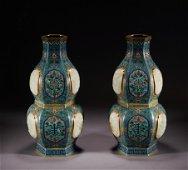 A pair of Cloisonne enamel gourd-shaped vase