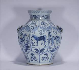 Yuan style blue and white beast ear porcelain jar