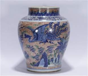 Qing Kangxi style blue and white porcelain jar