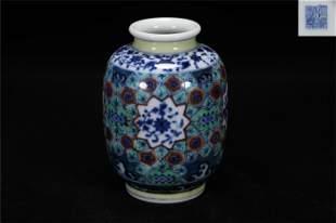 Qing Qianlong style doucai porcelain jar
