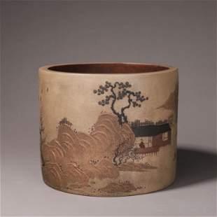 A painted landscape zisha ceramic brush pot
