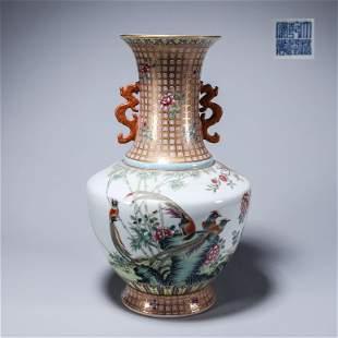 A famille rose flower porcelain vase