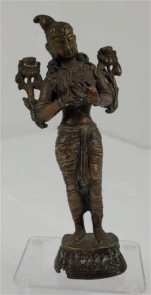 Antique Hindu Bronze Statue Parvati Goddess