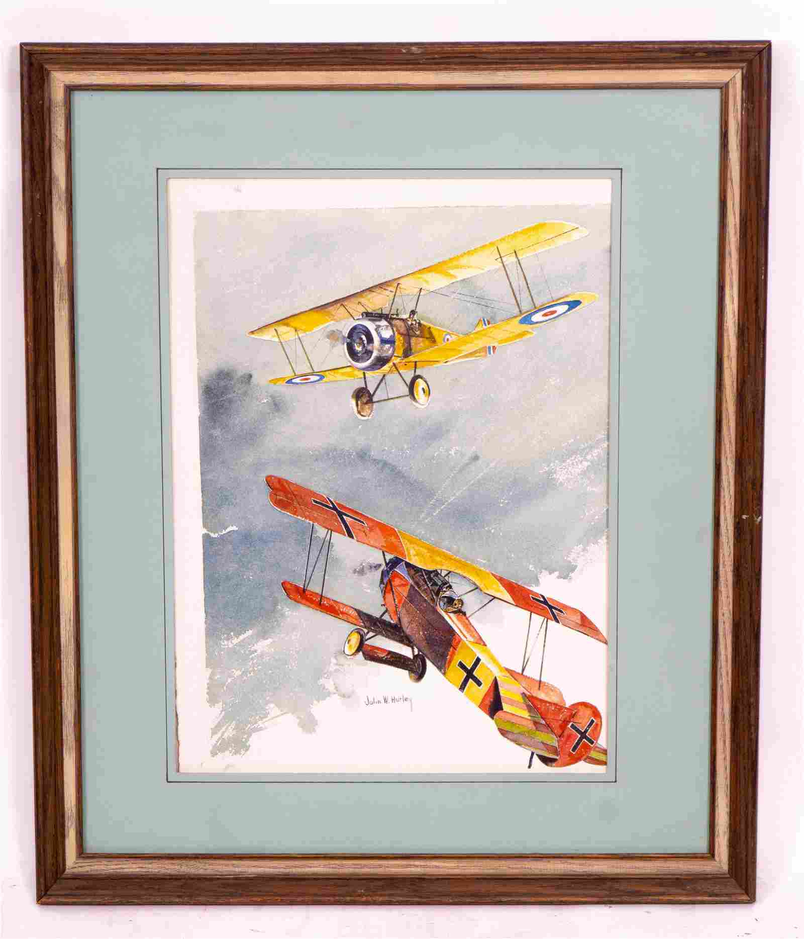 Print of World War I Biplanes by John W. Hurley