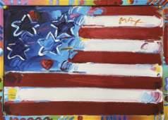 """Flag With Heart"" Peter Max Original Mixed Media"