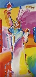 """""""Statue of Liberty"""" Peter Max Original Mixed Media"""