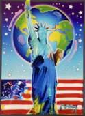 """Peace on Earth"" Peter Max Original Mixed Media"