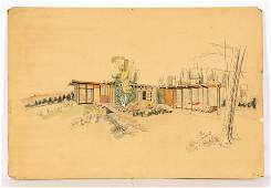 Original MidCentury Modern Architectural Drawing
