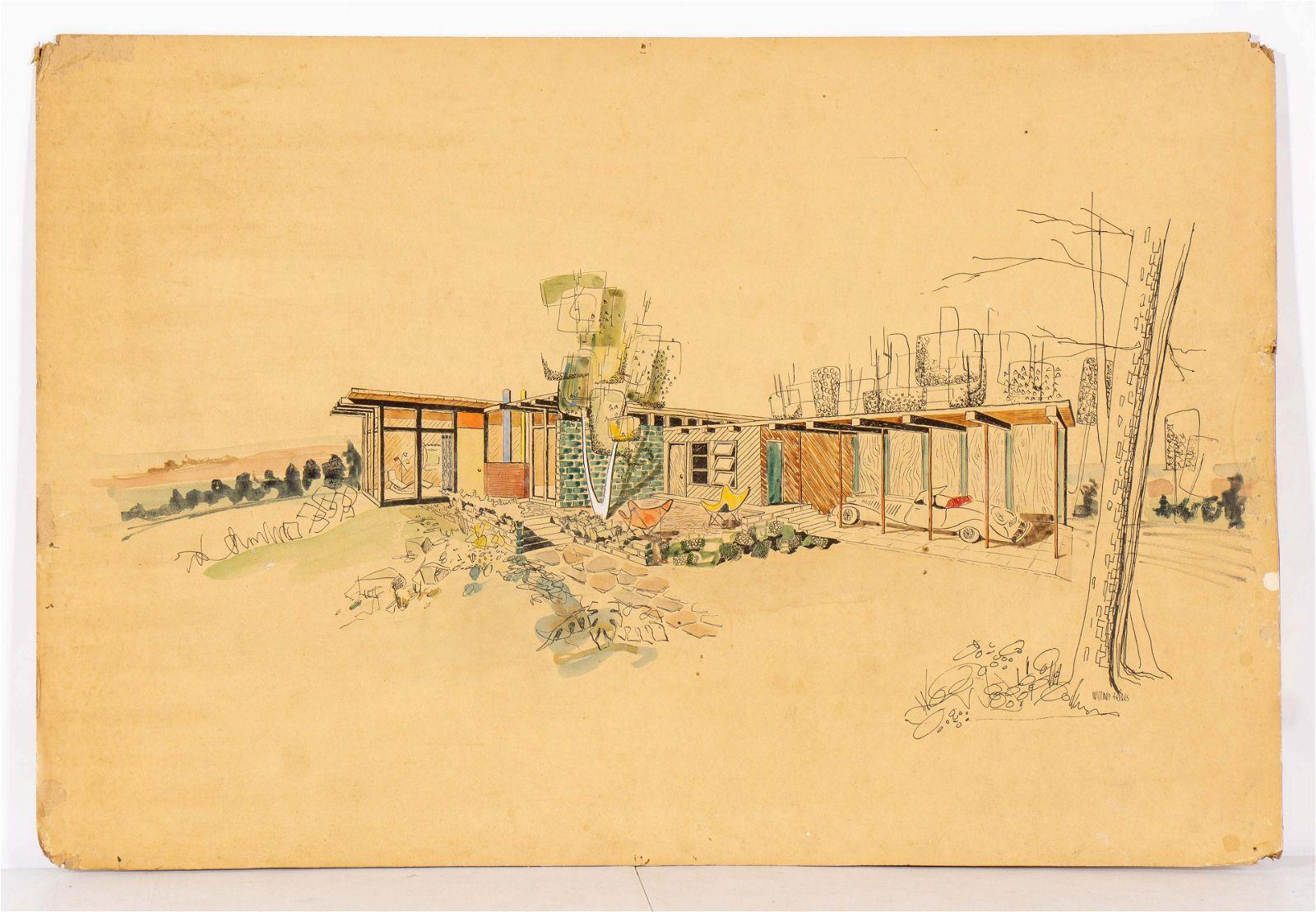 Original Mid-Century Modern Architectural Drawing