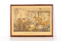 """Currier & Ives Print """"Trotting Cracks"""" at the Forge"""