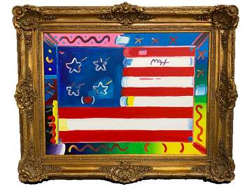 """Flag With Heart"" Original Peter Max Acrylic on Canvas"