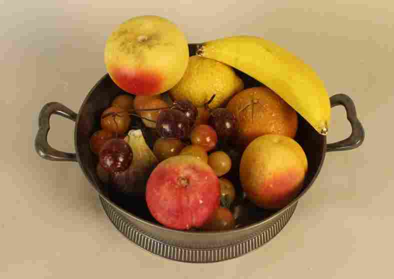 SILVER PLATE DISH STONE FRUIT