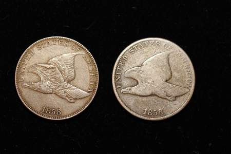 2 US Liberty Cents 1858