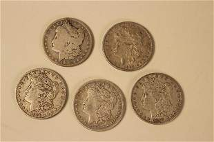 5 - Morgan Silver Dollars