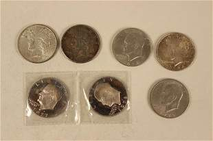 3 - Silver Peace Dollars, 4 Eisenhower Dollars