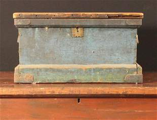 Painted Blue Wooden Early Tool Chest