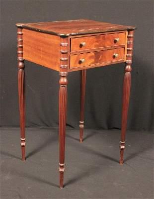 Two Drawer Sheraton Style Mahogany Stand