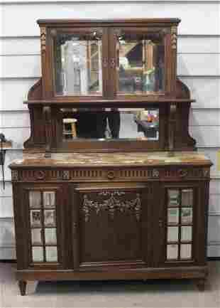Mahogany Marble Top Sideboard w/Mirror back
