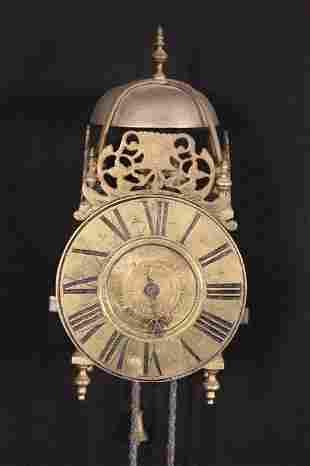 18th C Brass Wall Lantern Clock
