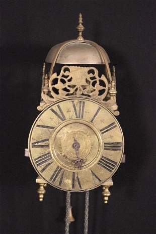 18th C Brass Wall Lantern Clock