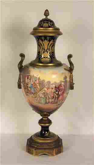 "19th C. French Sevres-Style Urn, 35""H"