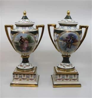 Pair of Vienna Austrian Mantle Vases