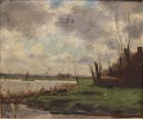 19th C Dutch Oil Painting River Scene
