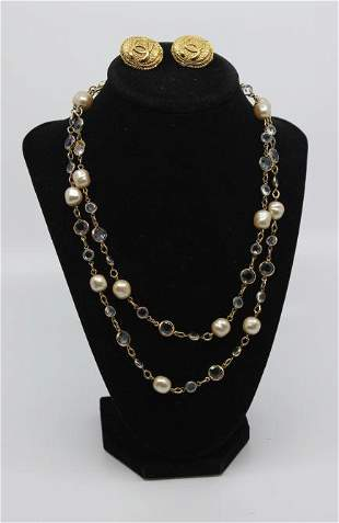 Chanel Vintage Pearl & Glass Necklace & Earrings
