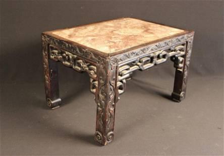 Carved Teakwood Marble Top Stand