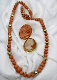 Gold Coral & Cameo Grouping