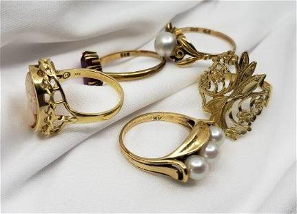 Five 14K Gold Rings