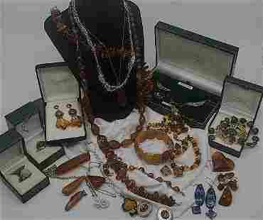 Amber, Celtic & Sterling Jewelry Grouping