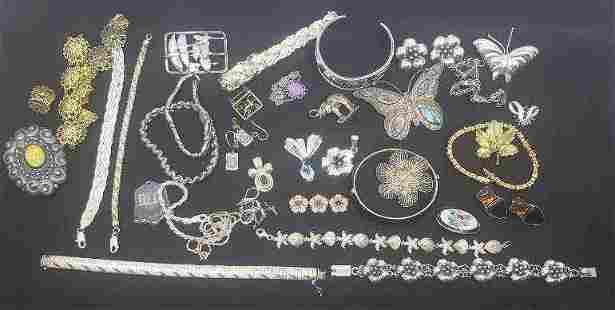 Vintage Sterling Silver Pins & Bracelets