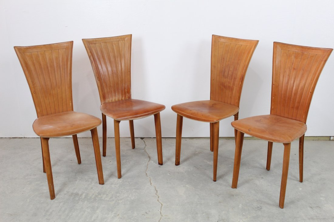 Set of 4 Buff Buttery Italian Leather Dining Chairs