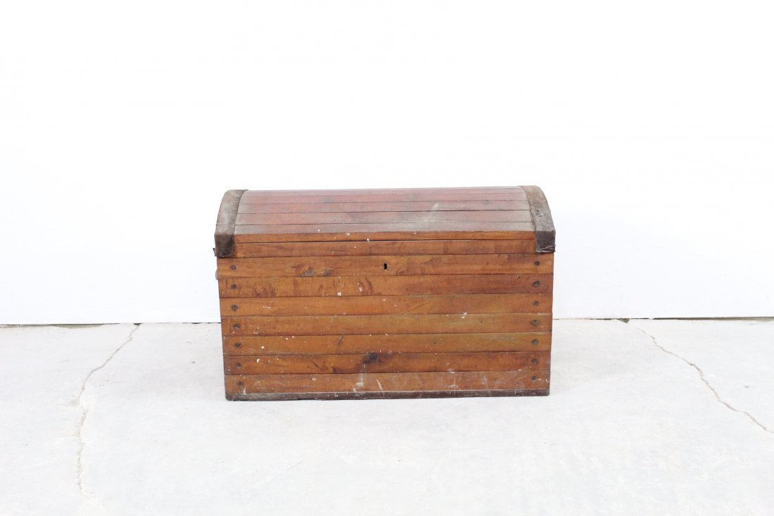 Handmade Slatted Industrial Dome Top Trunk