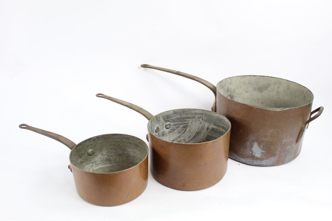 Nesting Set of Three Copper Pans